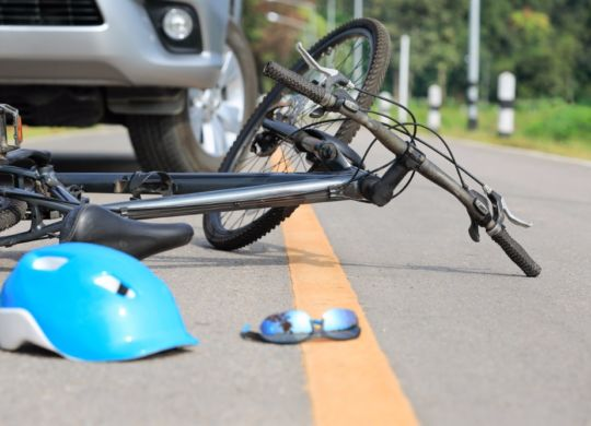 accident-car-crash-with-bicycle-on-road-picture-id874735434